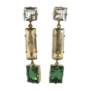 HQM Austrian Crystal Earrings - Drop Earrings - Clear, Golden Shadow and Peridot