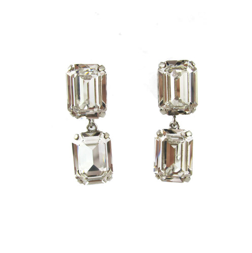 HQM Austrian Crystal Drop Earrings - Clear - (Pierced earrings)