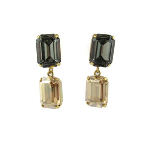 HQM Austrian Crystal Drop Earrings - Golden Shadow - Black Diamond