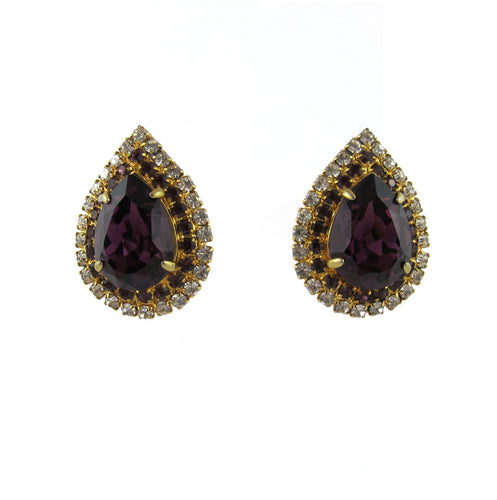 HQM Austrian Crystal Drop Earrings - Amethyst and Clear