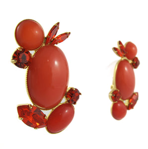 HQM Austrian Crystal Earrings - Coral and Hyacinth ( Clip-On Earrings)