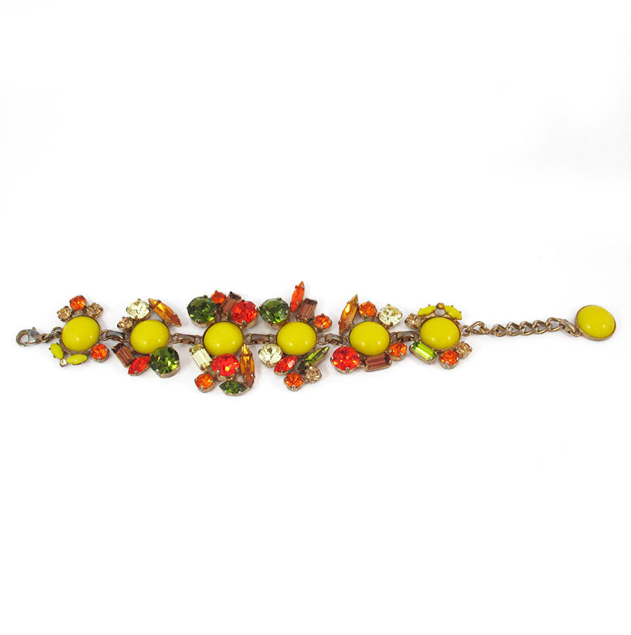 Harlequin Market Multi Coloured Austrian Crystal Detail Bracelet
