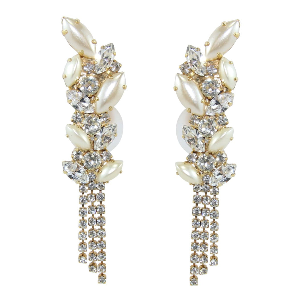 HQM Austrian Clear Crystal & Faux Pearl climber tassel earrings (clip on)
