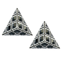 Load image into Gallery viewer, HQM Austrian Clear Crystal & Black Statement Pyramid Earrings (Pierced)
