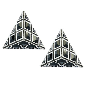 HQM Austrian Clear Crystal & Black Statement Pyramid Earrings (Pierced)