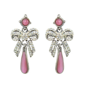 HQM Austrian Clear Crystal Delicate Pink Drop Bow Earrings (Pierced)
