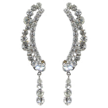 Load image into Gallery viewer, HQM Austrian Clear Crystal Delicate Cuff Tassel Earrings (Clip-on)