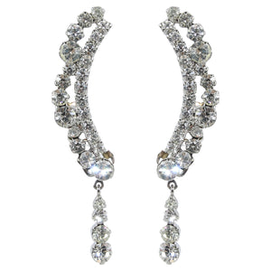 HQM Austrian Clear Crystal Delicate Cuff Tassel Earrings (Clip-on)