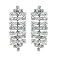 Load image into Gallery viewer, HQM Austrian Clear Crystal Silver Tone Deco Horizontal Bar Earrings (Pierced)