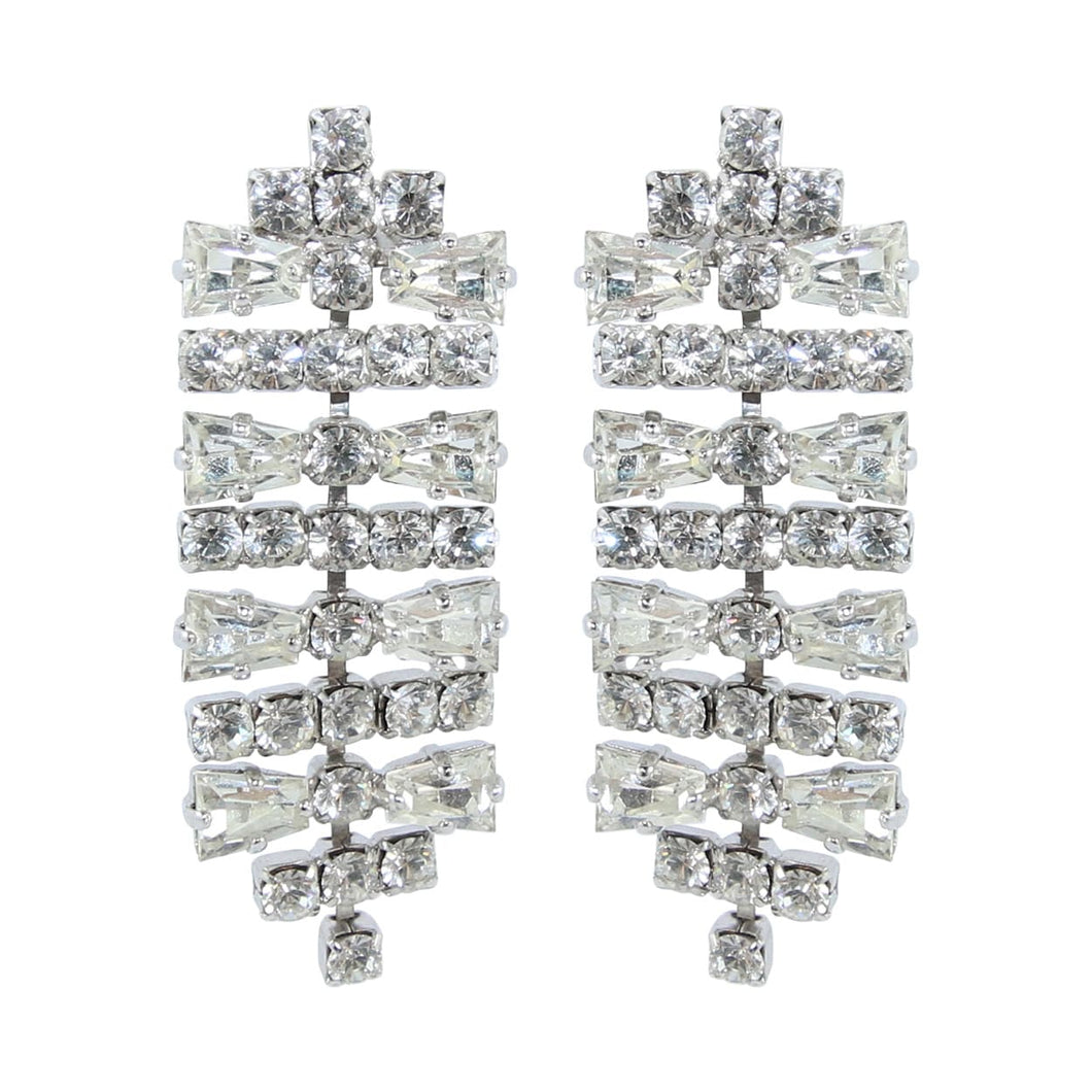 HQM Austrian Clear Crystal Silver Tone Deco Horizontal Bar Earrings (Pierced)