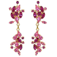 Load image into Gallery viewer, HQM Austrian Crystal Leaf Design Drop Earrings - Fuchsia Rose Pink (Clip-on)