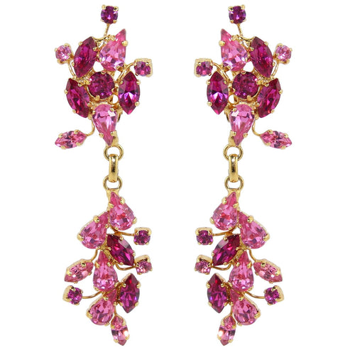 HQM Austrian Crystal Leaf Design Drop Earrings - Fuchsia Rose Pink (Clip-on)