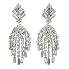 Load image into Gallery viewer, HQM Austrian Crystal Rhinestone Deco Style Waterfall Cluster Earrings - Clear Crystal (Clip-on)