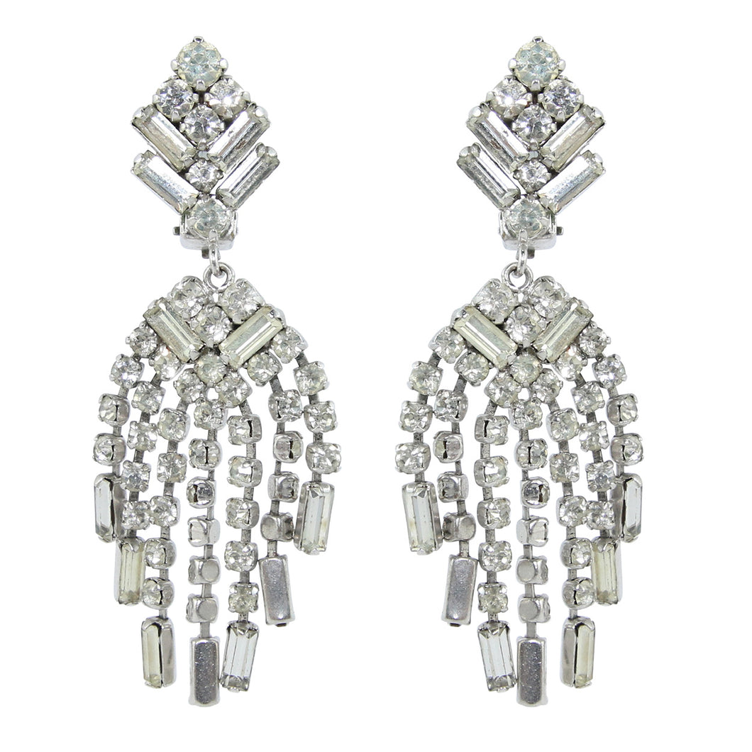 HQM Austrian Crystal Rhinestone Deco Style Waterfall Cluster Earrings - Clear Crystal (Clip-on)