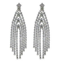 Load image into Gallery viewer, HQM Austrian Clear Crystal Silver Tone Dramatic Deco Tassel Earrings (Clip-On)