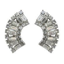 Load image into Gallery viewer, HQM Austrian Clear Crystal Rectangle Cuff Earrings (Clip-On)