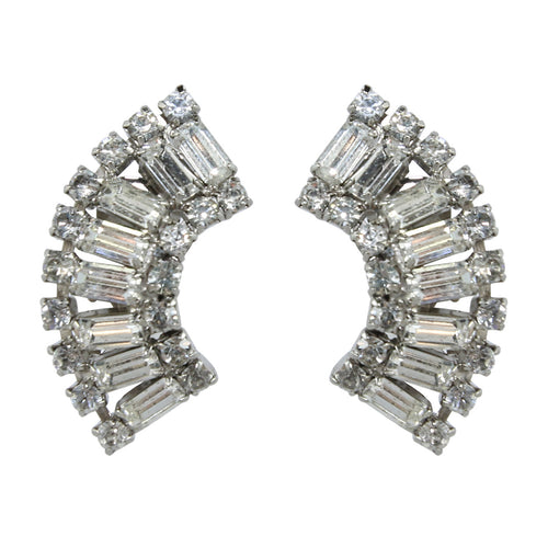 HQM Austrian Clear Crystal Rectangle Cuff Earrings (Clip-On)