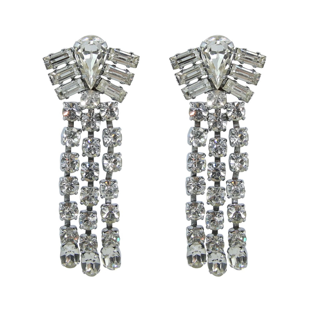 HQM Austrian Clear Crystal Diamond Shaped Waterfall Tassel Earrings (Pierced)