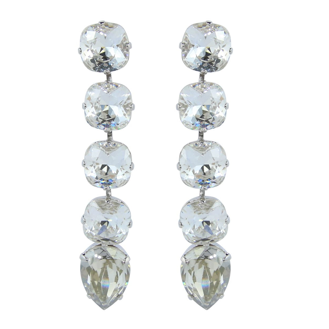 HQM Dramatic Austrian Clear Crystal Drop Earrings (Pierced)