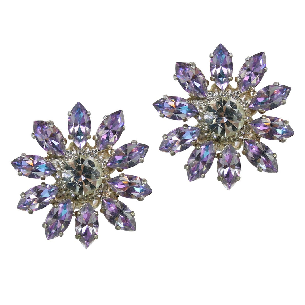 HQM Light Amethyst & Clear Crystal Daisy Earrings (Clip-On)