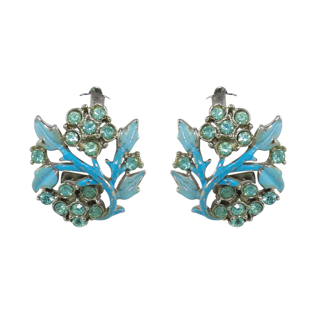 HQM Pastel Blue Leaf & Crystal Deco Earrings (Clip-On)