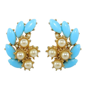 HQM Pastel Blue & Faux Pearl Deco Earrings (Clip-On)