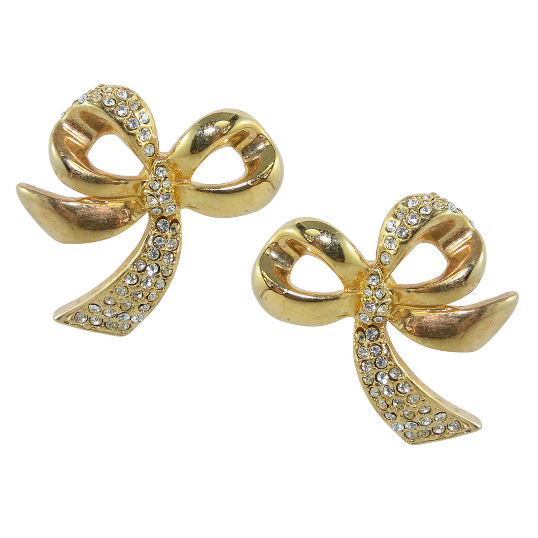 HQM Gold Tone & Clear Crystal Rhinestone Swinging Bow Earrings (Clip-On)