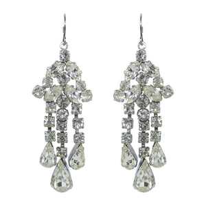HQM Clear Crystal Small Chandelier Drop Earrings (Pierced)