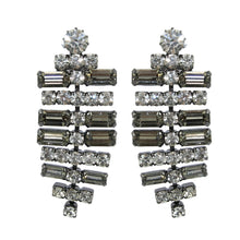 Load image into Gallery viewer, HQM Austrian Clear & Black Crystal SilverTone T-Bar Drop Earrings (Clip-On)