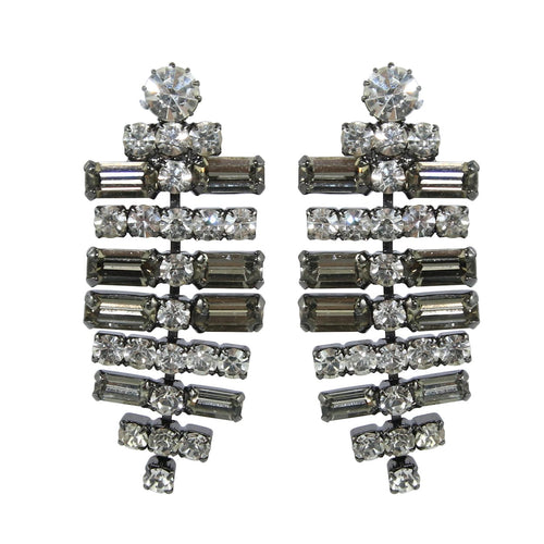 HQM Austrian Clear & Black Crystal SilverTone T-Bar Drop Earrings (Clip-On)