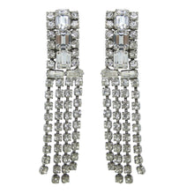 Load image into Gallery viewer, HQM Austrian Clear Crystal Rhinestone Cuff & Tassel Earrings (Clip-On)