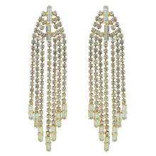 Load image into Gallery viewer, HQM Austrian Clear Crystal Gold Tone Delicate Deco Tassel Earrings (Pierced)