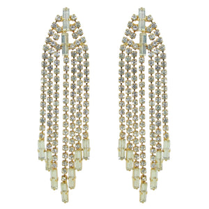HQM Austrian Clear Crystal Gold Tone Delicate Deco Tassel Earrings (Pierced)