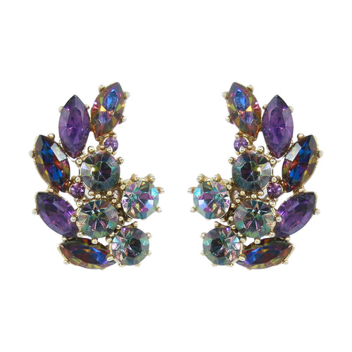 HQM Austrian Crystal Cluster Earrings - Heliotrope (Clip-On)