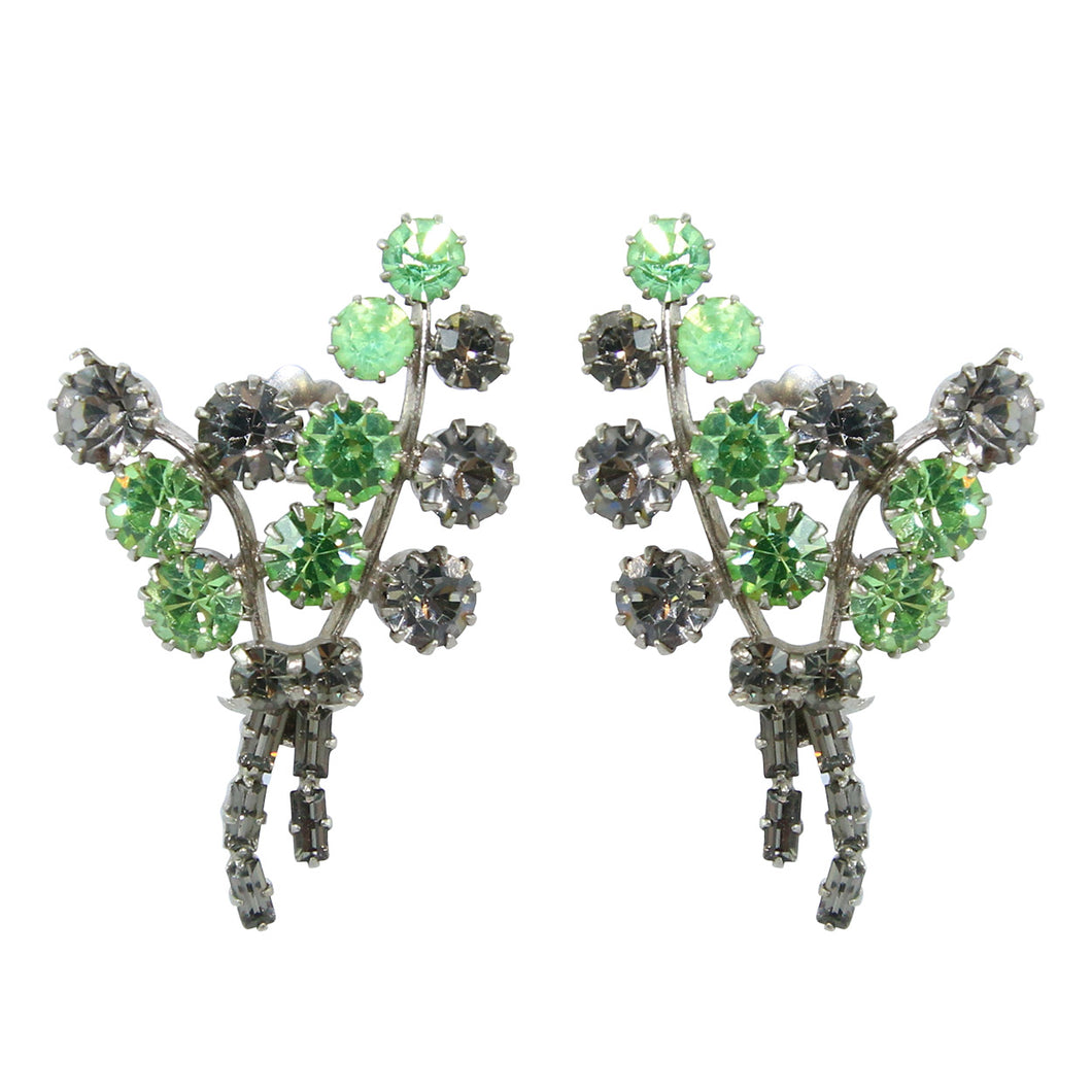 HQM Austrian Crystal Leaf Cluster Earrings (Clip-On)