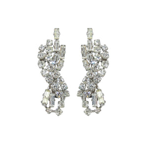 HQM Austrian Clear Crystal Infinity Twist Earrings (Clip-On)