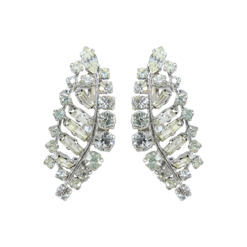 HQM Austrian Clear Crystal Delicate Leaf Earrings (Clip-On)