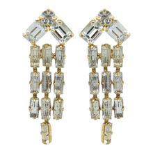 Load image into Gallery viewer, HQM Austrian Clear Crystal Three Tassel Tear Drop Earrings (Pierced)