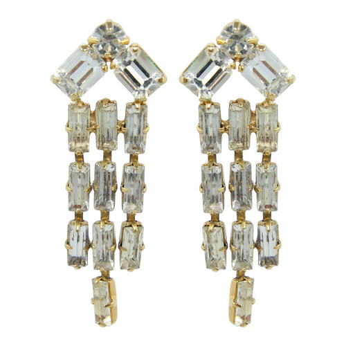 HQM Austrian Clear Crystal Three Tassel Tear Drop Earrings (Pierced)