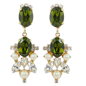 HQM Drop Faux Pearl, Clear & Olivine Crystal Earrings (Clip-On)