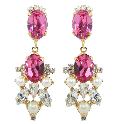 HQM Drop Faux Pearl, Clear & Rose Crystal Earrings (Clip-On)