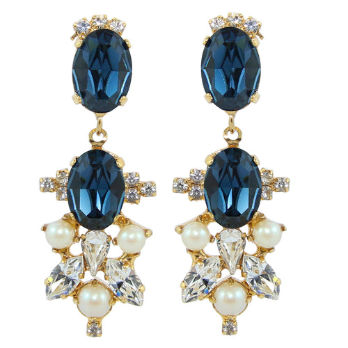 HQM Drop Faux Pearl, Clear & Metallic Blue Crystal Earrings (Pierced)