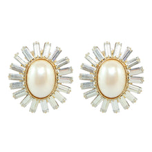 Load image into Gallery viewer, HQM Faux Pearl & Clear Crystal Spike Earrings (Clip-On)
