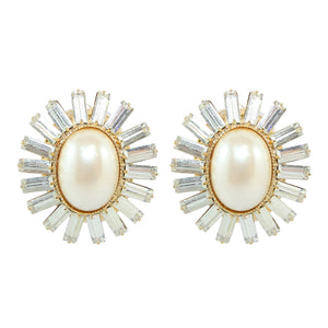 HQM Faux Pearl & Clear Crystal Spike Earrings (Clip-On)
