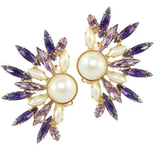 Load image into Gallery viewer, HQM Dramatic Faux Pearl, Light Amethyst & Amethyst Spike Cuff Earrings (Clip-On)