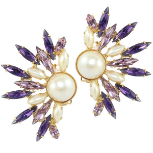 HQM Dramatic Faux Pearl, Light Amethyst & Amethyst Spike Cuff Earrings (Clip-On)