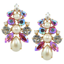 Load image into Gallery viewer, HQM Large Cluster Austrian Crystal Aurore Boreale, Clear Crystal & Faux Pearl (Clip-On)