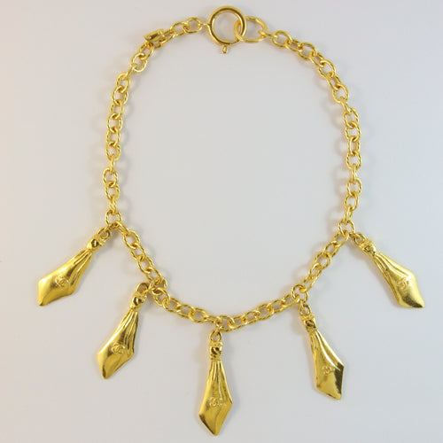 Chanel Vintage Gold Tone Necklace With 'CC Logo' Charms