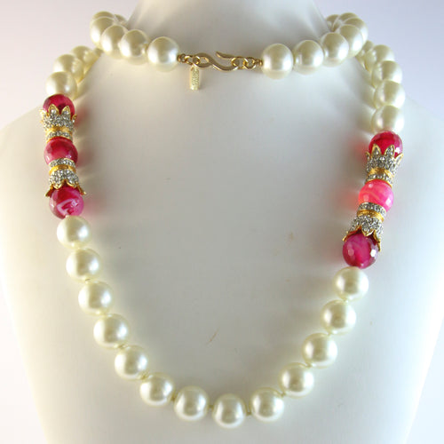 Signed Vintage Kenneth Jay Lane Faux Pearl Necklace With Pink Beads & Crystal Rhinestones