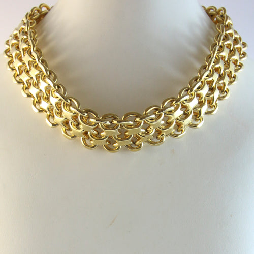 French Vintage Multi-Chain Gold-Tone Necklace